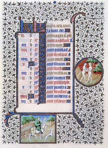 Book of Hours (French), Mid-15th C., Workshop of the Bedford Master (15th C. French), The Huntington - San Marino, California : Stock Photo