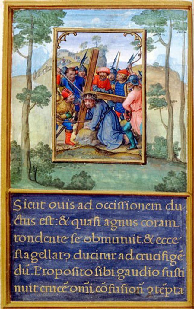 Stock Photo: 1060-666 Road to Calvary, The Flemish Miniature, The Book of Hours (Spanish), C.1500-1550, Simon Bening, (C. 1483-1561/Netherlandish), The Huntington-San Marino, California