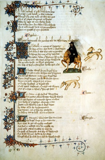 Stock Photo: 1060-669 Canterbury Tales: Tale of the Monk & his Greyhounds (Ellesmere Chaucer), ca. 1400, Artist Unknown, Illuminated manuscript, The Huntington Library, Art Collections, and Botanical Gardens, San Marino, California, USA