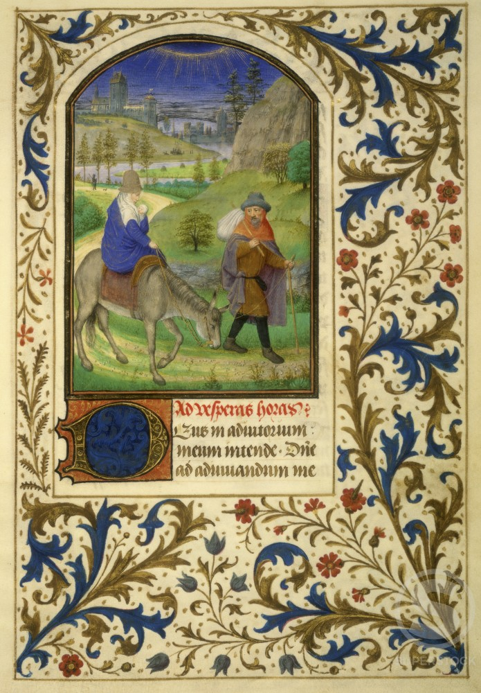 Stock Photo: 1060-686 The Flight into Egypt (Detail): Book of Hours 