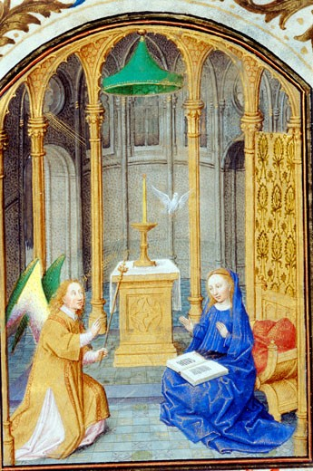 Stock Photo: 1060-688 The Annunciation - Detail, Book of Hours, Simon Marmion (ca.1425-1489 French), The Huntington Library, Art Collections, and Botanical Gardens, San Marino, California