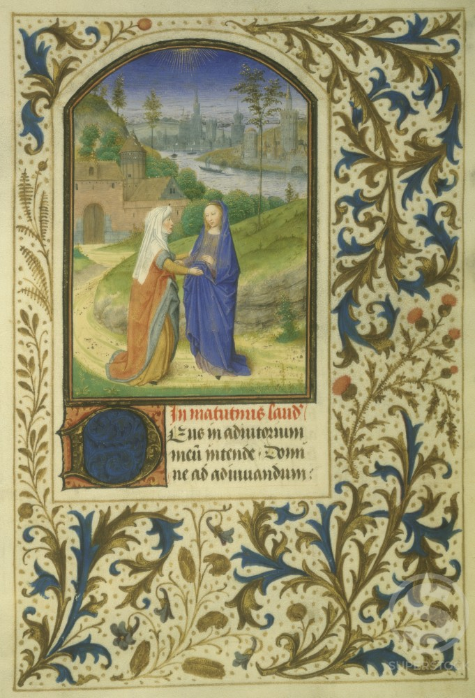 Stock Photo: 1060-690 The Visitation  (Detail) from the Book of Hours  c. 1450-1475  Simon Marmion (c. 1425-1489/ French)  Decorated Vellum Leaf   Manuscript Illumination  The Huntington Library, Art Collections, and  Botanical Gardens, San Marino, California