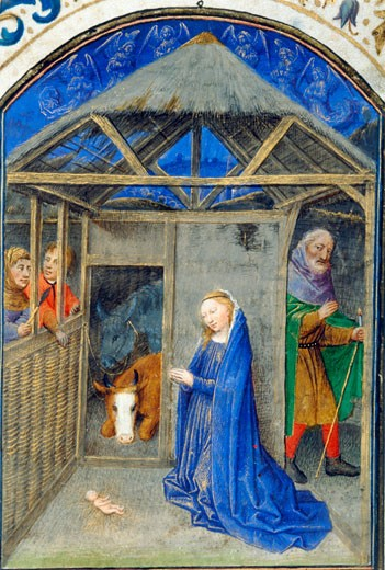 Stock Photo: 1060-693 The Nativity - Detail, Book of Hours, Simon Marmion (ca.1425-1489 French), The Huntington Library, Art Collections, and Botanical Gardens, San Marino, California