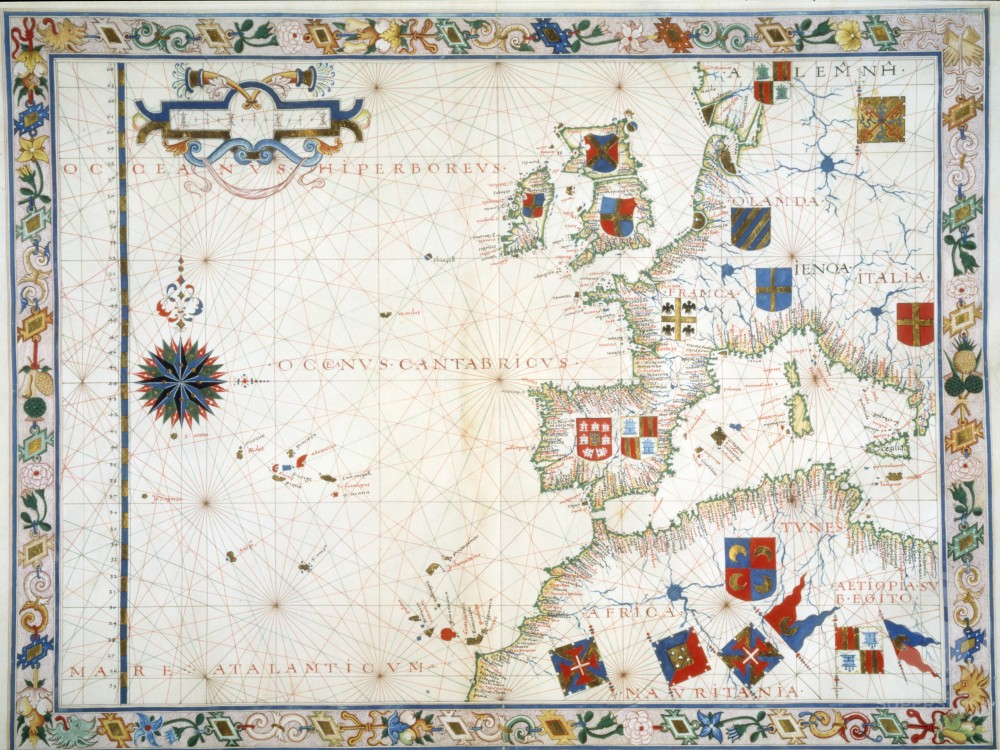 Stock Photo: 1060-706 Western Mediterranean, Europe and Northern Africa, Portolan Atlas, Fernao Vaz Dourado (16th C.), The Huntington Library, Art Collections, and Botanical Gardens, San Marino, California