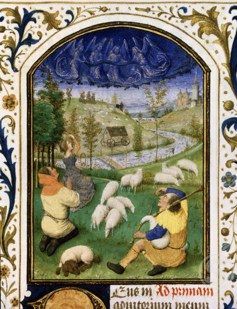 Stock Photo: 1060-711 The Annunciation to the Shepherds  (Detail) Book of Hours c. 1450-1475 Simon Marmion c. 1425-1489 French The Huntington Library, Art Collections, and Botanical Gardens, San Marino, California