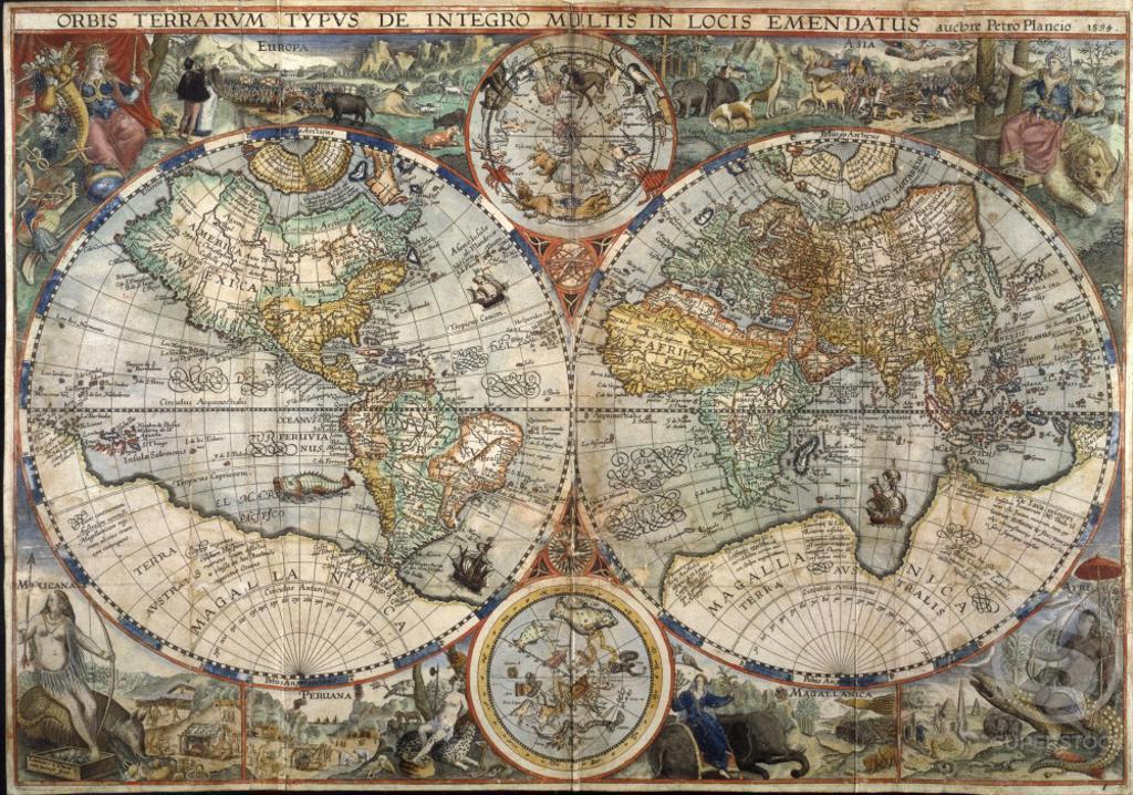 "Stock Photo: 1060-751 World Map from ""Itinerario""    Jan Huygen van Linschoten (1563-1611/Netherlandish)    The Huntington Library, Art Collections, and Botanical Gardens, San Marino, CA                -"