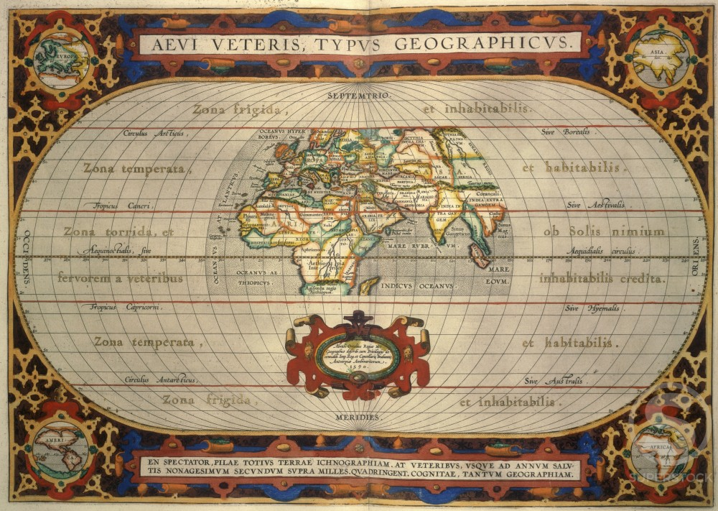 "Zone Map from ""Theatrum Orbis Terrarum"" 1595 Abraham Ortelius (1527-1598/Netherlandish) The Huntington Library, Art Collections, & Botanical Gardens, San Marino, CA                -  : Stock Photo"