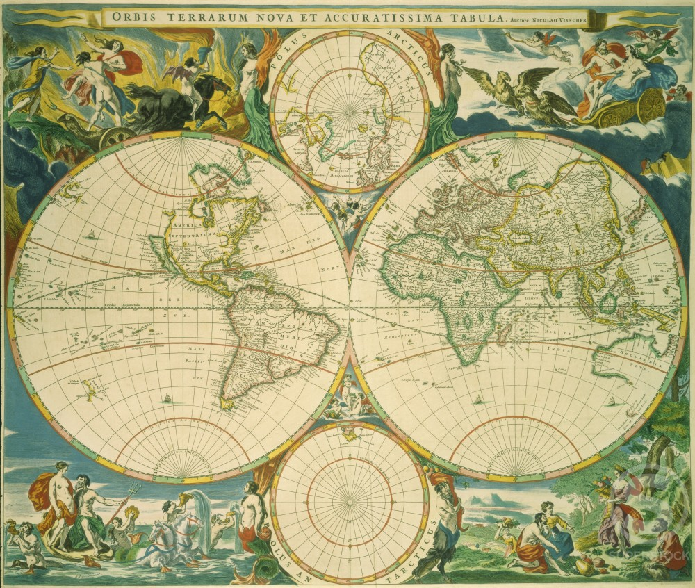 Stock Photo: 1060-756 World Map in Novus Atlas by Jan Jansson 