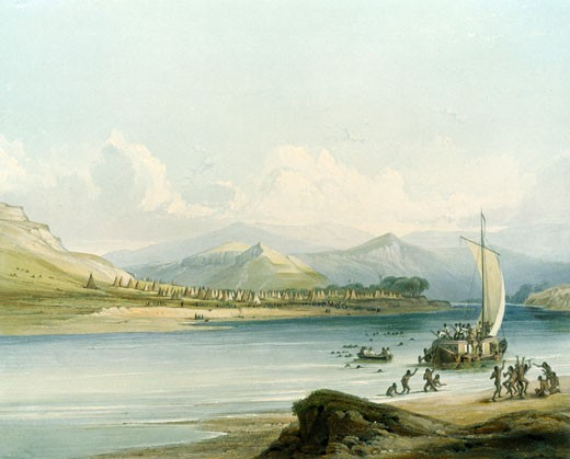 Stock Photo: 1060-793 Camp of the Gros Ventres of the Prairies, Illustration for Wied-Neuwied, Karl Bodmer (1809-1893 Swiss), The Huntington-San Marino, California