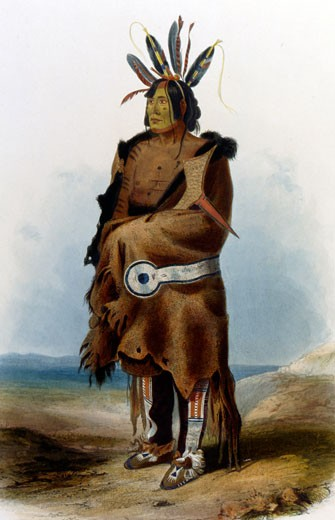 Stock Photo: 1060-794 Arikkara Warrior, an Illustration in Wied-Neuwied, 1843, Karl Bodmer (1809-1893 Swiss), The Huntington Library, Art Collections, and Botanical Gardens, San Marino, California