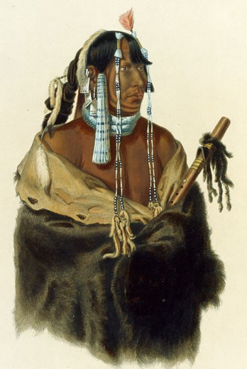 A Young Mandan Indian, Illustration for Wied-Neuwied, Karl Bodmer (1809-1893 Swiss), The Huntington-San Marino, California : Stock Photo