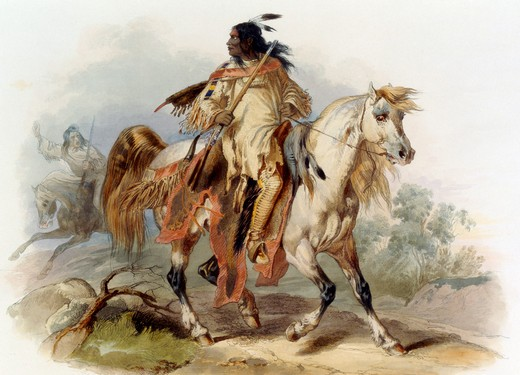 Stock Photo: 1060-804 A Blackfoot Indian on Horseback, Illustration In Wied-Neuwied, 1843, Karl Bodmer (1809-1893 Swiss)