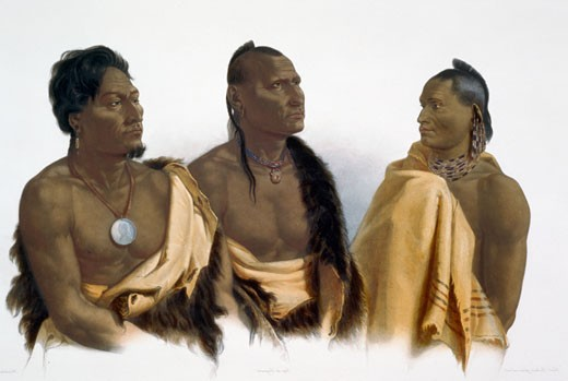 Stock Photo: 1060-815 Missouri, Oto and Chief of the Puncas, Illustration for Wied-Neuwied, Karl Bodmer (1809-1893 Swiss), The Huntington-San Marino, California