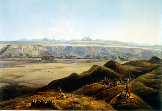 Stock Photo: 1060-823 View of the Rocky Mountains, Illustration for Wied-Neuwied, Karl Bodmer (1809-1893 Swiss), The Huntington Library, Art Collections, and Botanical Gardens, San Marino, California