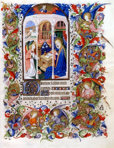 Annunciation, Book of Hours (French), Workshop of the Bedford Master (15th C. French), The Huntington Library, Art Collections, and Botanical Gardens, San Marino, California : Stock Photo