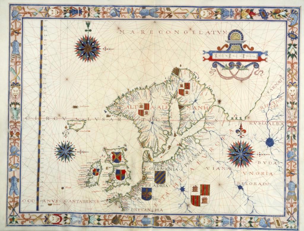 Stock Photo: 1060-852 Scandinavia and Northwestern Europe, 1547, Fernao Vaz Dourado (16th C.), The Huntington Library, Art Collections, and Botanical Gardens, San Marino, California