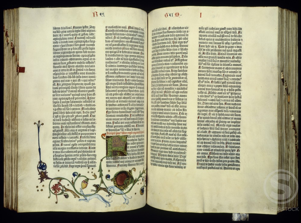 Stock Photo: 1060-857 Gutenberg Bible  ca. 1455 Manuscript Illumination  The Huntington Library, Art Collections, and Botanical Gardens, San Marino, California
