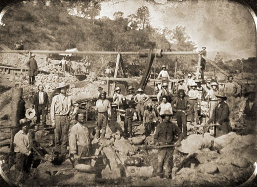 Group of miners in a gold mine, Taylorsville, California, USA, 1849 : Stock Photo