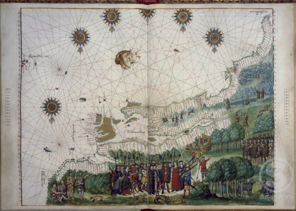 Stock Photo: 1060-939 The Landing of Jacques Cartier & Colonists in Canada (1542)