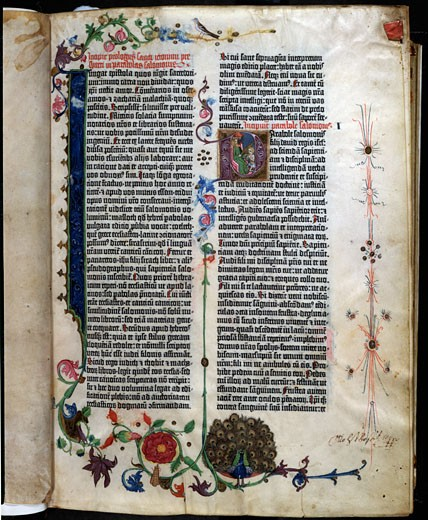 Gutenberg Bible Decorative Page C.1455 Manuscripts The Huntington Library, Art Collections, and Botanical Gardens, San Marino, California, USA : Stock Photo