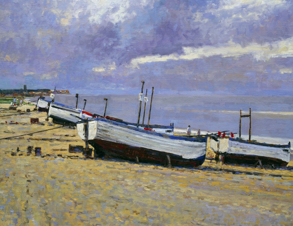 Stock Photo: 1061-18035 View Towards Thorpeness From Aldeburgh, Suffolk by Charles Neal, oil painting, 1996, born in 1951