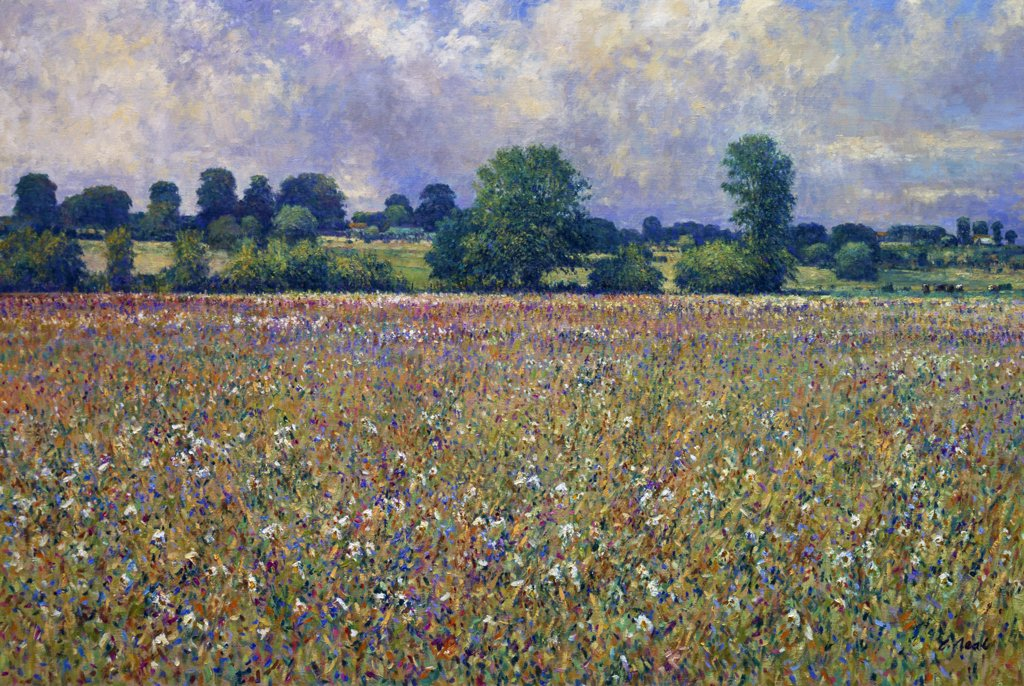 France,  Normandie,  Carmenil,  Summer Field Scene,  Farm L'Aumone by Charles Neal,  oil on canvas,  (b.1951) : Stock Photo