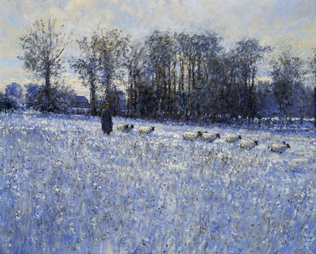 Stock Photo: 1061-18137 Winter at Ferme L'Aumone by Charles Neal,  oil on canvas,  1998,  b.1951 British