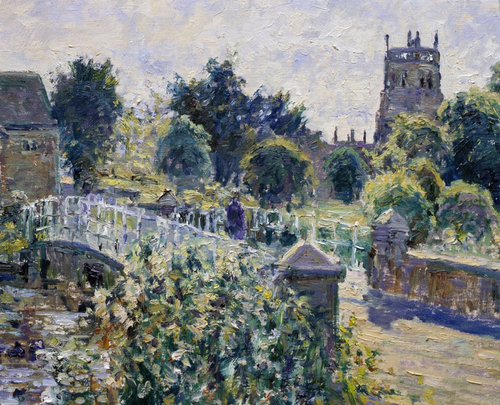 Stock Photo: 1061-18174 UK,  Gloucestershire,  Fairford,  Bridge over the River Coln (Morning,  September) by Charles Neal,  oil on canvas,  detail,  b.1951 British