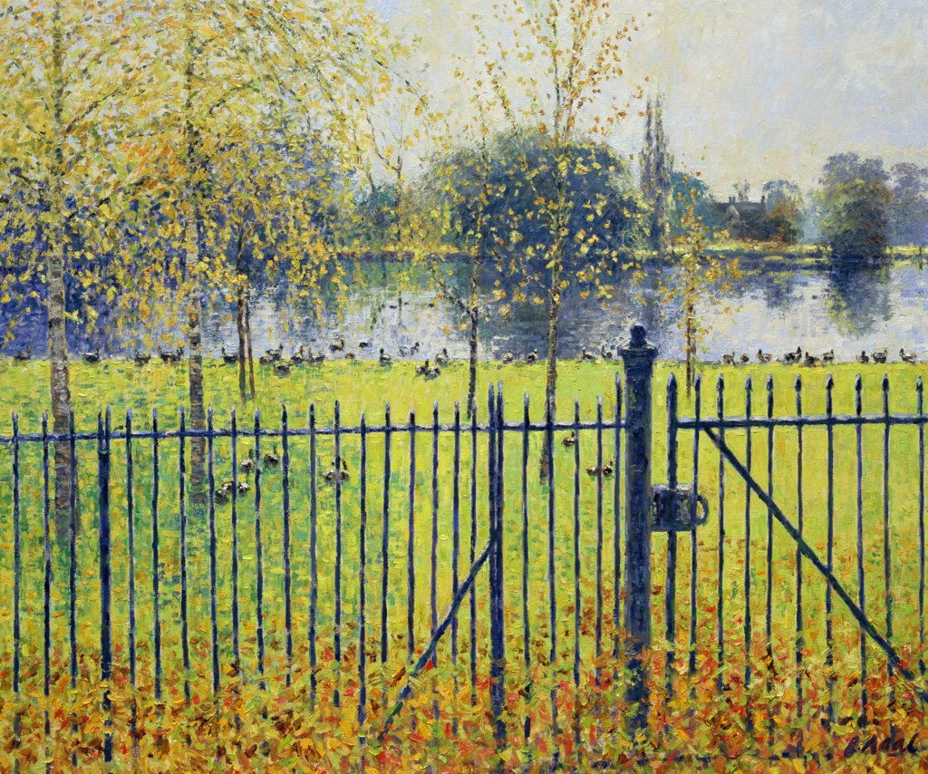View Over The Boating Lake Regents Park,  London (morning,  November), Neal,  Charles (1951/british), Oil On Canvas : Stock Photo