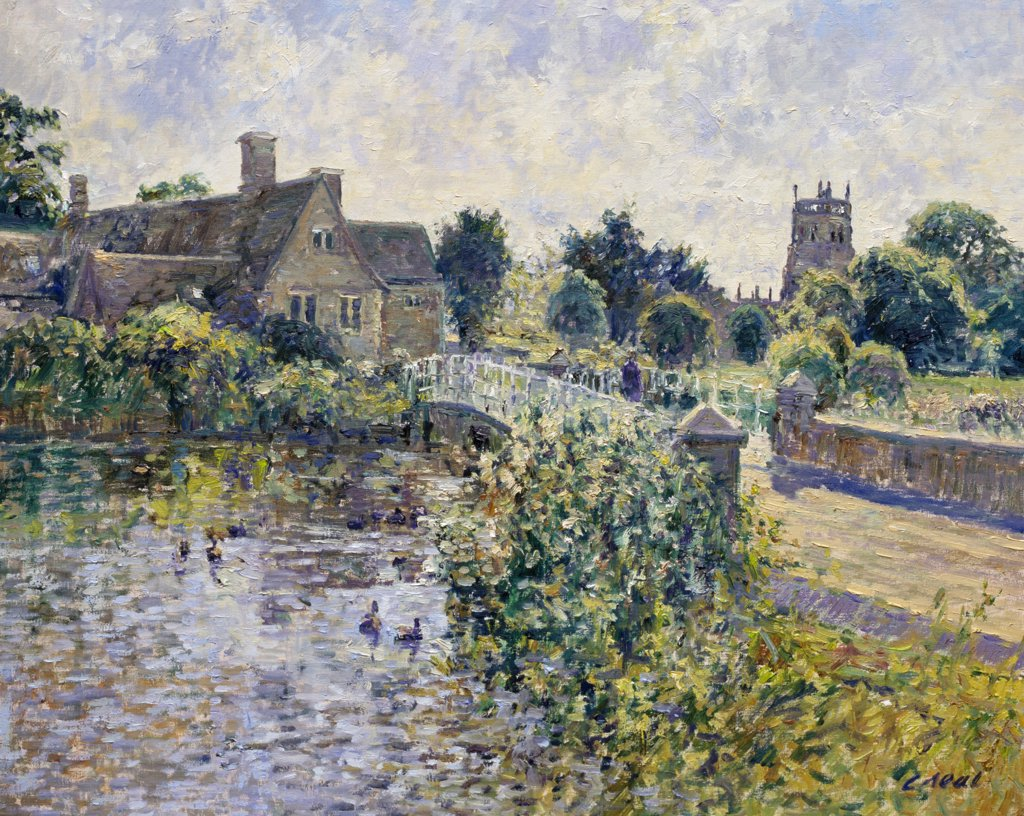 Stock Photo: 1061-18197 UK,  Gloucestershire,  Fairford,  Bridge Over The River Coln (Morning,  September) by Charles Neal,  oil on canvas,  detail,  b.1951 British