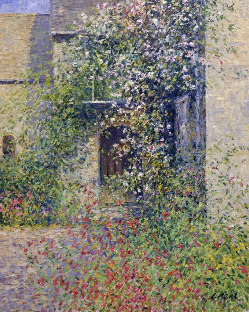 Oxfordshire,  Buscot,  Lock Farm,  Porch with Roses (Morning,  July) by Charles Neal,  oil on canvas,  (b.1951) : Stock Photo