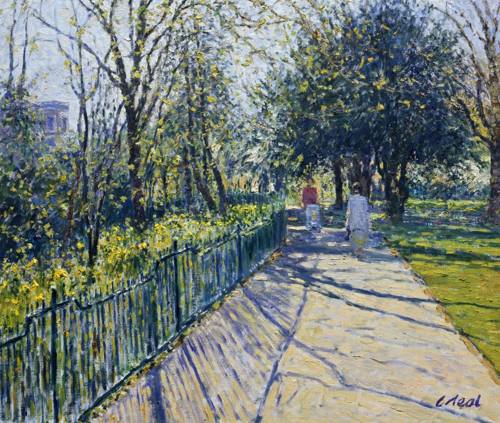 Spring,  Sandford Park , Cheltenham,  Gloucestershire, Neal,  Charles (1951/British), Oil On Canvas : Stock Photo