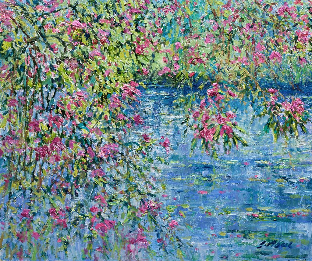 Stock Photo: 1061-18255 Rhododendrons Over the Lily Pond-Afternoon, June