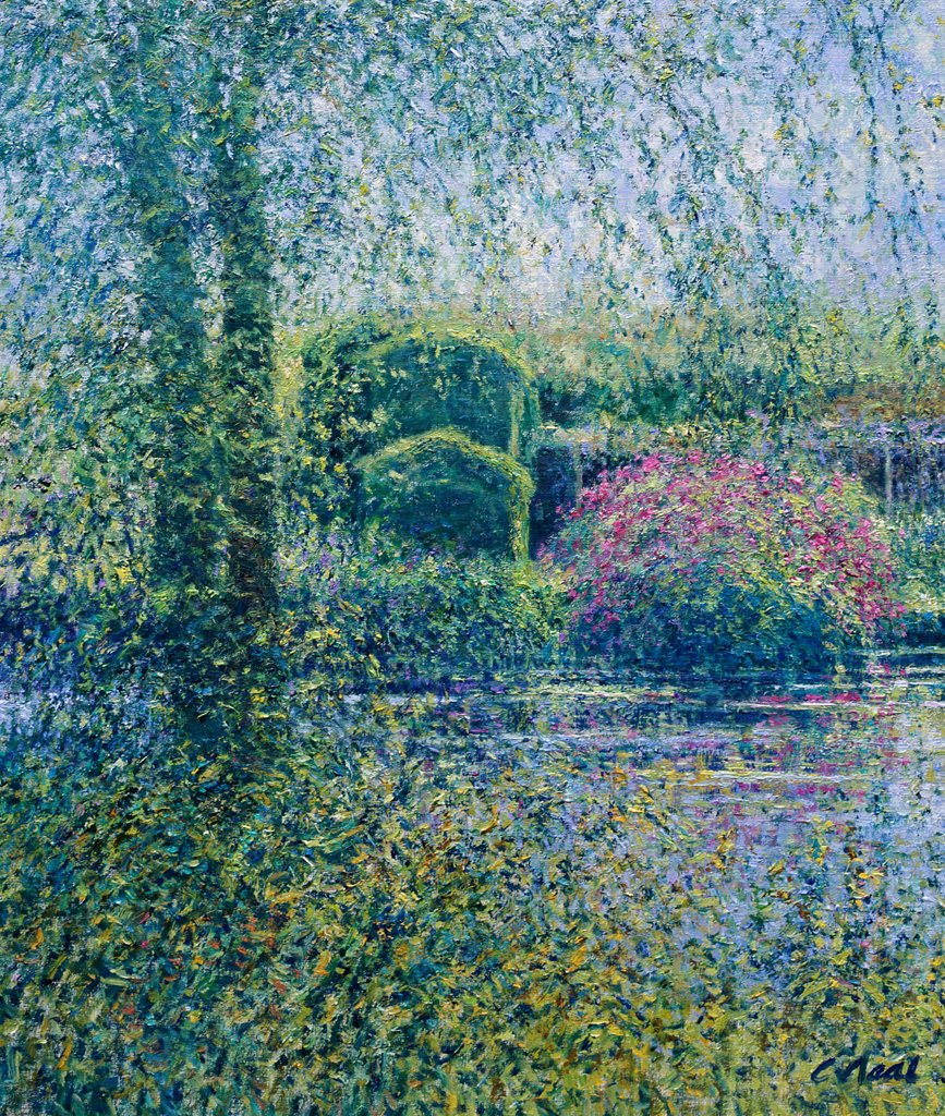 Stock Photo: 1061-18308 Lily Pond View Towards the Pergola with Rhododendrons-Morning, July