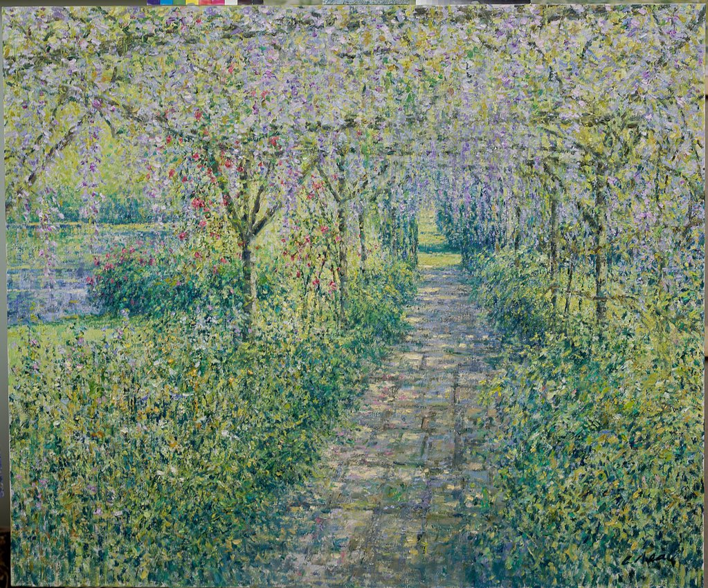 The Pergola with Wisteria, Great Tangley Manor, Wonersh, Surrey 2003 Charles Neal (b.1951 British) Oil on canvas : Stock Photo