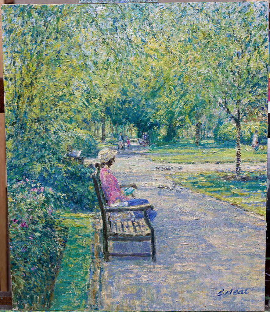 Stock Photo: 1061-18322 Jephson Gardens, Royal Leamington Spa, Warwickshire (I) 2003 Charles Neal (b.1951 British) Oil on panel