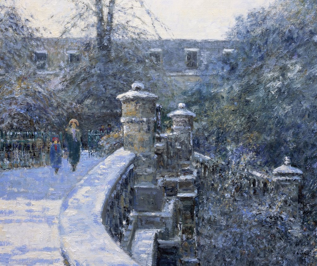 Stock Photo: 1061-18348 The Italianate Bridge, Pitville Park, Cheltenham, Gloucestershire. Morning December. (Detail)