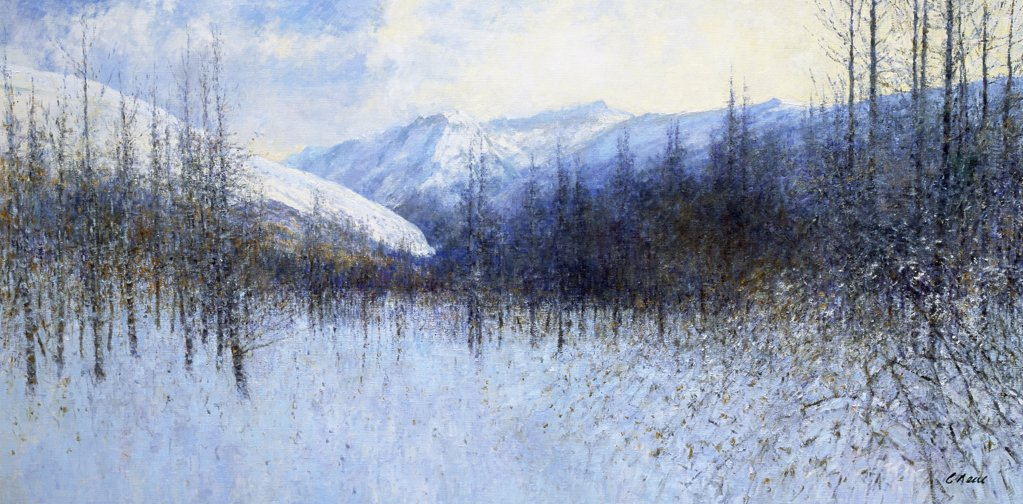 View Of Valle Anzasca From The Monte Rosa, Pecetto, Italia. Morning, December. Charles Neal (b.1951 British) Oil On Canvas : Stock Photo