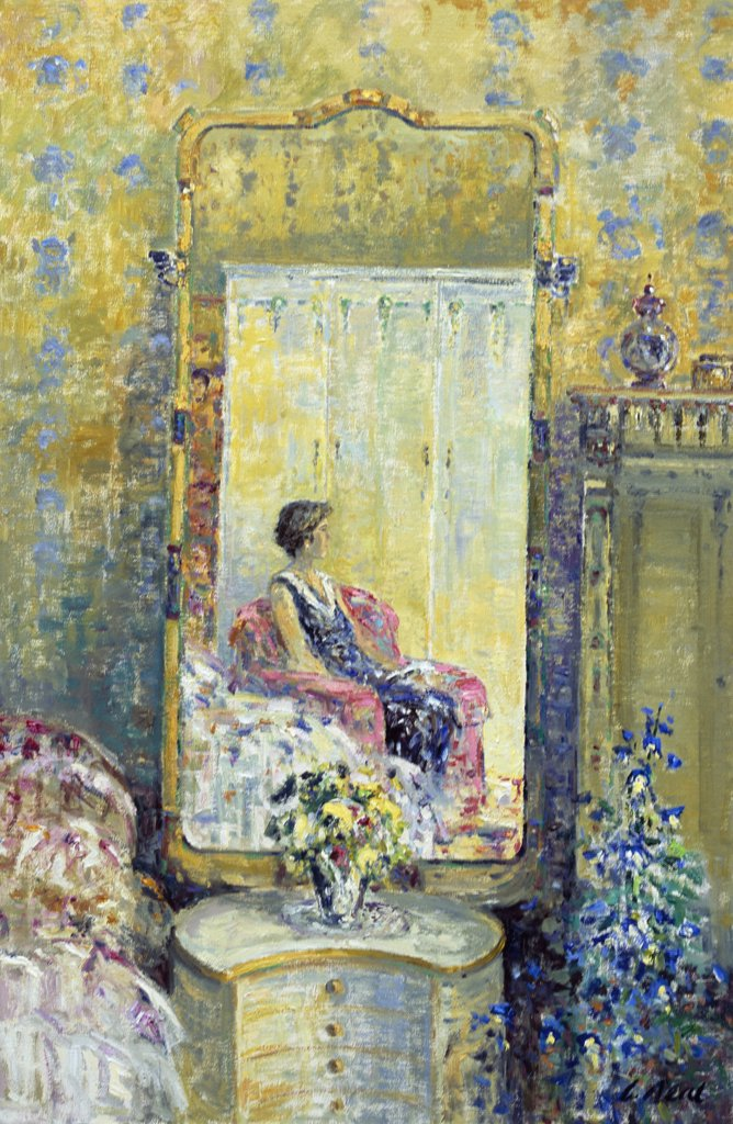 Stock Photo: 1061-18353 Reflections, The Artist's Wife Susan, Afternoon At Le Perchoir, St. Croix, Teutheville-Bocage, Normandie, France