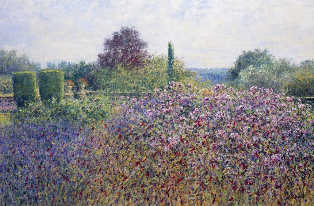 Stock Photo: 1061-18361 The Upper Terrace, Cotswold Farm, Upper Duntisbourne, Gloucestershire. Morning, July.