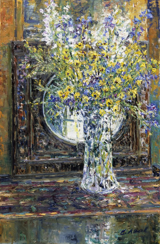 Stock Photo: 1061-18369 Reflections With Cut Flowers, Glass Vase And Victorian Oak Mirror. At The Artist's Home.