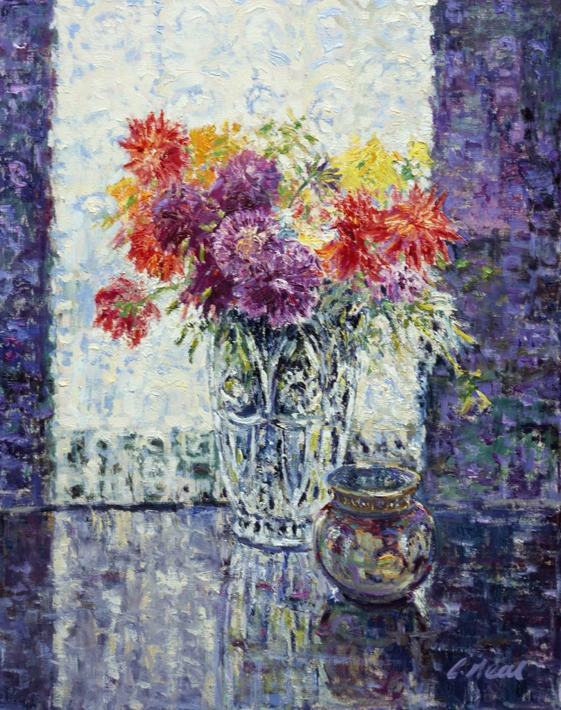 Stock Photo: 1061-18370 Arrangement With Dahlias. At The Artist's Home. 