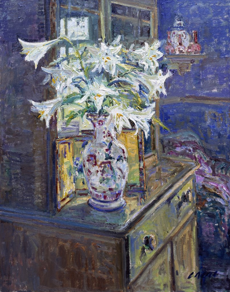 Stock Photo: 1061-18371 Composition With Lilies And Chinese Vase. The Dining Room, At The Artist's Home.