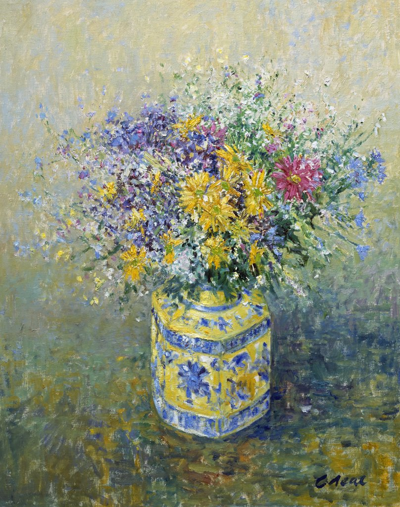 Stock Photo: 1061-18375 Arrangement Of Cut Flowers In Yellow Oriental Jar. 