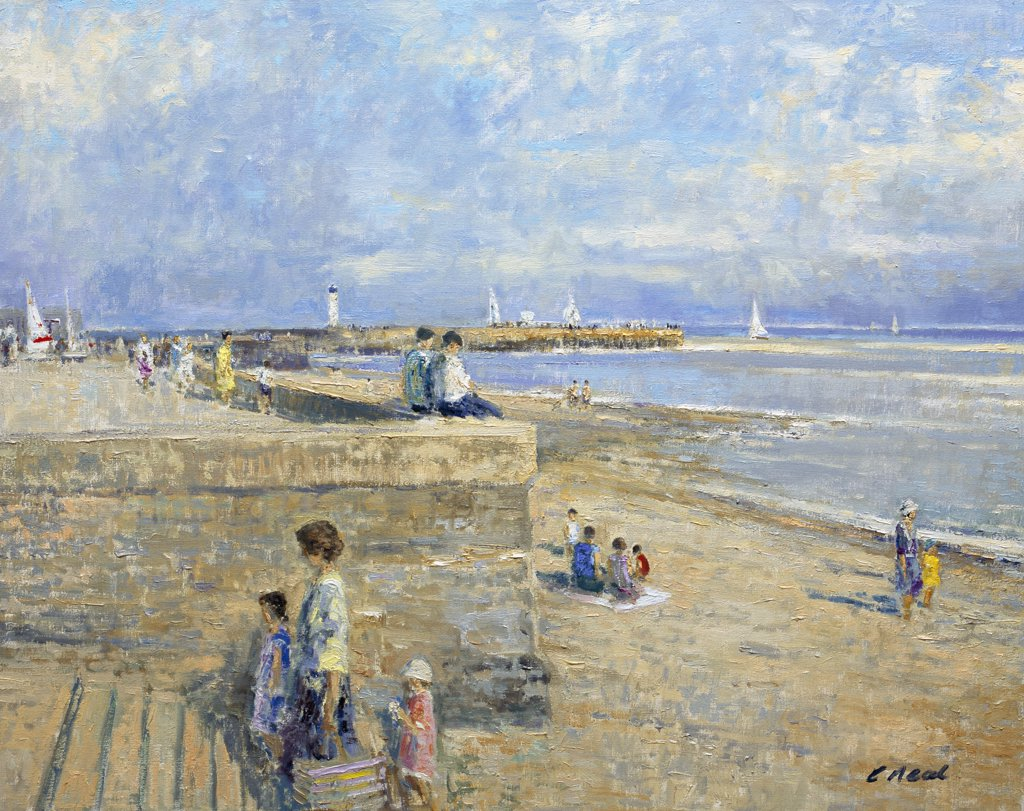 Stock Photo: 1061-18382 Jetty And Beach at Ste. Valery-En-Caux, Normandie. Morning, August.