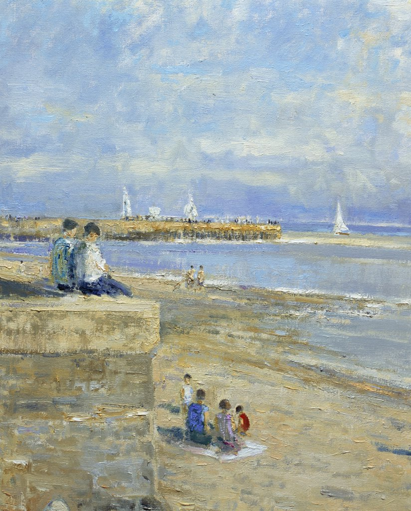Stock Photo: 1061-18383 Jetty And Beach At Ste. Valery-En-Caux, Normandie. Morning, August (Detail)
