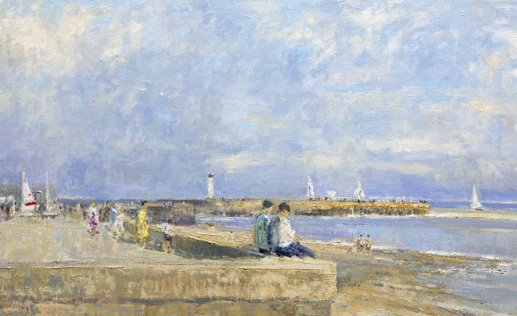 Jetty And Beach At Ste. Valery-En-Caux, Normandie. Morning, August (Detail)