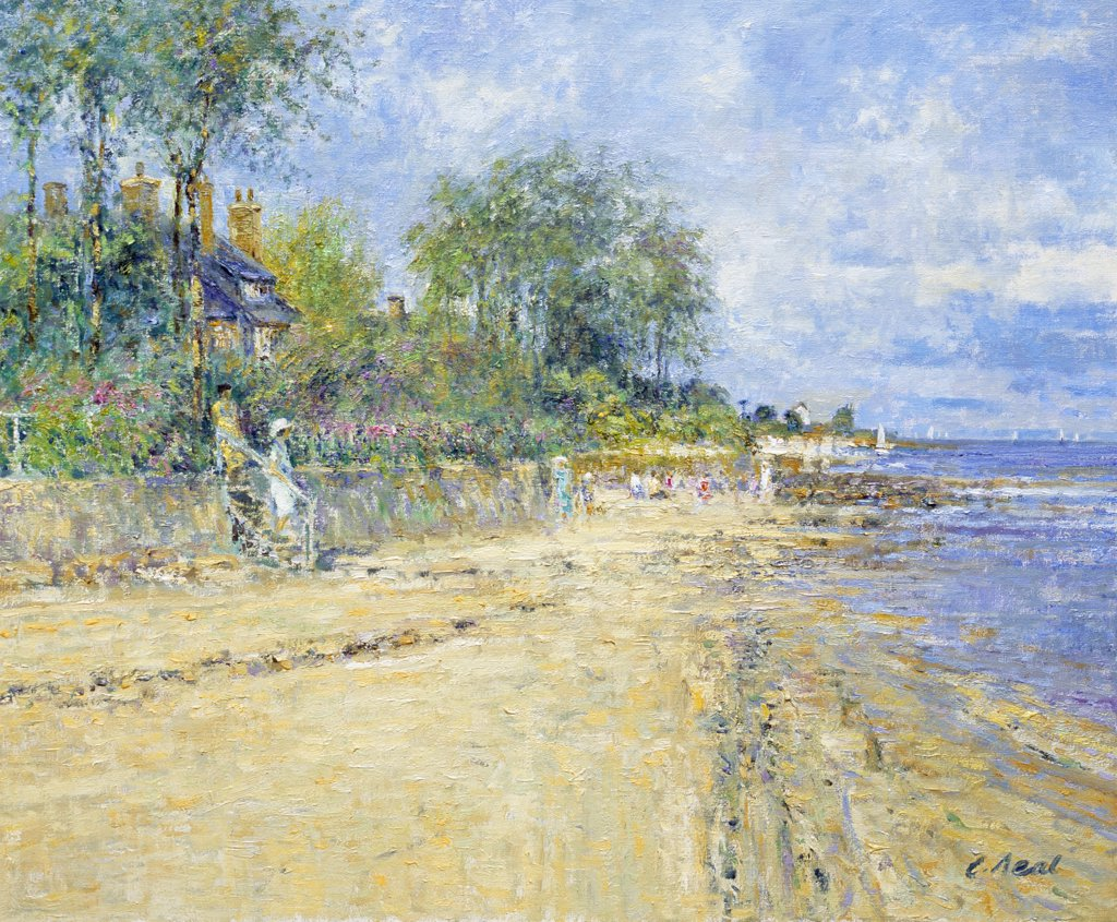 Stock Photo: 1061-18385 Down To The Beach At Jonville, Near St. Vaast La Hougue, Bocage Region, Normandie, France, Afternoon July Charles Neal (b.1951 British) Oil On Canvas