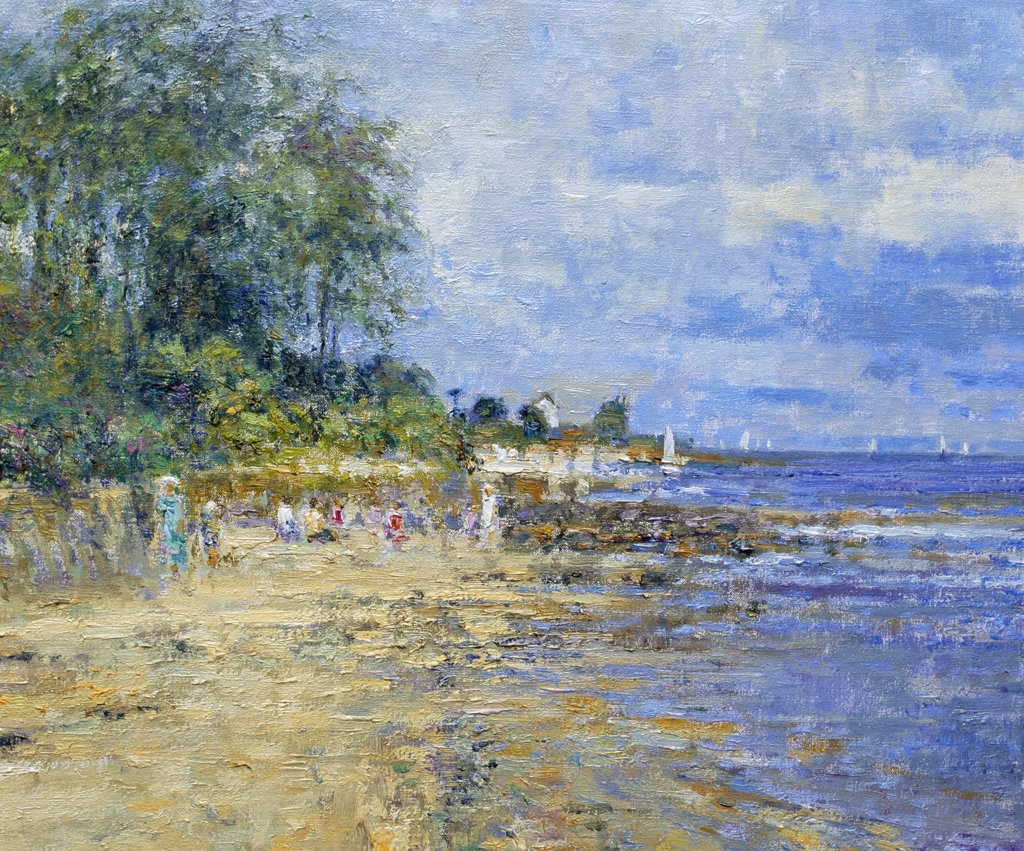 Stock Photo: 1061-18387 Down To The Beach At Jonville, Near St. Vaast La Hougue, Bocage Region, Normandie, France.  Afternoon, July Charles Neal (b.1951 British) Oil On Canvas