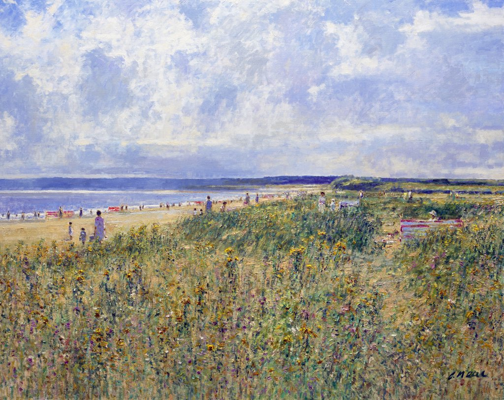 Stock Photo: 1061-18388 Walberswick Beach Near Southwold, Suffolk. Afternoon August. Charles Neal (b.1951 British) Oil On Canvas
